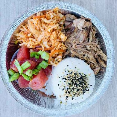 plate with rice and two types of chicken