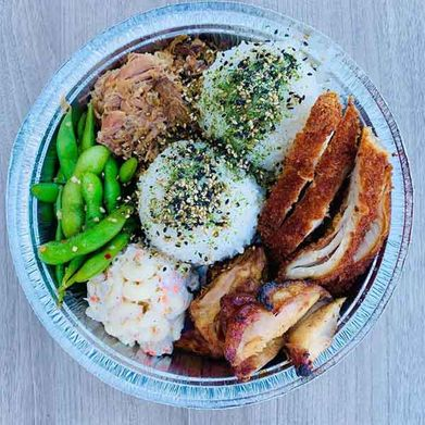 plate with meat and rice