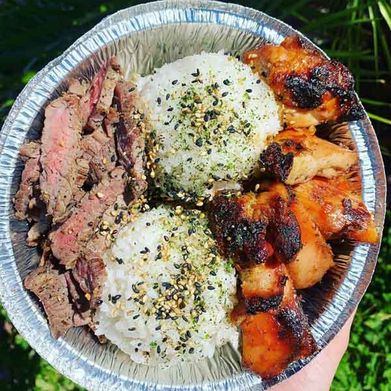 bowl with two types of meat and rice
